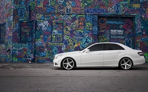 Picture white, graffiti, tuning, Mercedes, drives, side, tinted, E Class