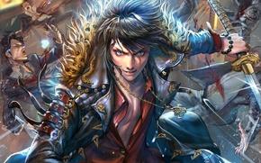 Picture fantasy, anime, battle, art, guy
