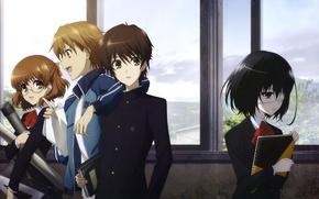 Picture anime, window, guys, notebook, students, other, Another, Kouichi Sakakibara, Misaki Mei, Yukari Sakuragi, Naoya Teshigawara