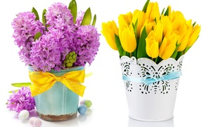 Picture eggs, bouquet, tulips, flowers, tulips, spring, easter, hyacinths, lilac