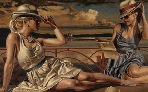 Wallpaper summer, girls, stay, figure, picture, glasses, hats, dresses, Peregrine Heathcote