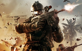Picture house, palm trees, weapons, fire, war, battle, soldiers, gloves, sniper, attack, helmet, shootout, medic, the …