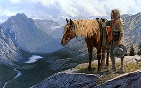 Picture mountains, horse, picture, valley, painting, painting, trapper