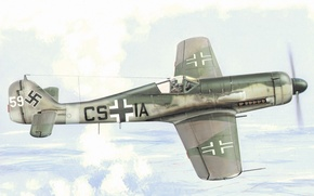 Picture fighter, war, art, painting, aviation, ww2, Fuck Wulf FW 190-D9