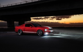 Picture Mustang, Ford, Shelby, GT500, Muscle, Red, Car, Front, Sunset, Collection, Aristo