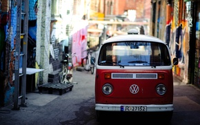 Picture red, bright, the city, street, graffiti, volkswagen, van, narrow