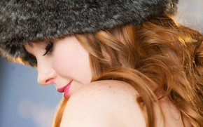 Picture eyes, girl, eyelashes, hair, Smile, nose, Lips, Hat, freckles, Red, Marie McCray