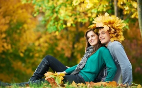 Picture autumn, girl, nature, stay, foliage, pair, guy, smile