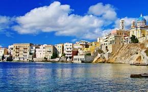 Picture sea, the city, photo, home, Greece
