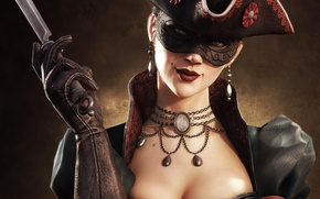 Picture chest, look, girl, smile, hat, necklace, mask, lips, knife, gloves, mole, killer, assassin, multiplayer, cocked …