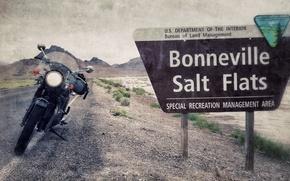 Picture sign, motorcycle, usa, utah, bonneville, salt flats