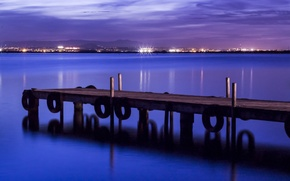 Picture sea, the sky, night, lights, shore, lighting, port, the bridge, blue, Spain, purple