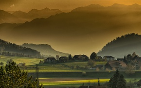 Picture trees, mountains, fog, dawn, field, home, morning, forest, rays of light
