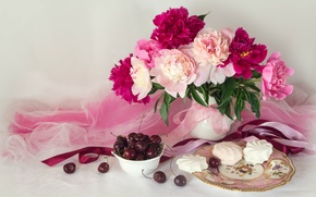 Picture bouquet, plate, tape, fabric, still life, cherry, peonies, marshmallows