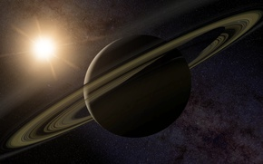 Wallpaper stars, ring, Saturn
