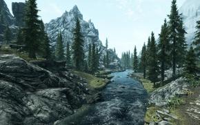 Picture trees, landscape, mountains, river, The Elder Scrolls V Skyrim