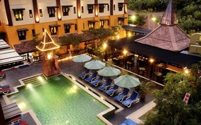 Picture the evening, pool, resort, the area