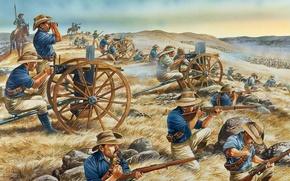 Picture art, soldiers, equipment, rifle, application, shots.figure, clash, machine gun Hiram Maxim, combat