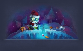 Picture forest, night, fishing, new year, Christmas, gifts, monster, new year, Santa Claus, merry christmas