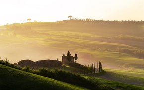 Picture fog, dawn, Italy, Tuscany