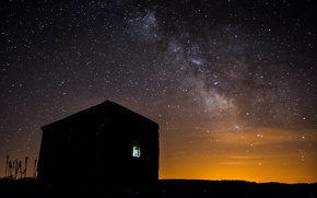 Picture stars, night, space, house, the milky way