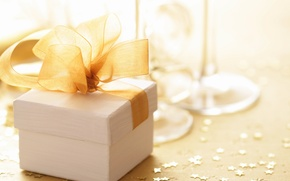 Wallpaper holiday, box, gift, box, gold, bow, glasses, white, champagne