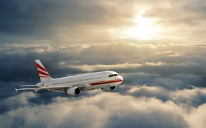 Picture the sky, the sun, clouds, rays, flight, the plane