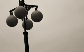 Picture the city, black and white, street lamp