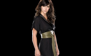 Wallpaper actress, belt, hairstyle, brunette, dress, black background, Jennifer Love Hewitt, Jennifer Love Hewitt