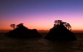 Picture sea, the sky, trees, sunset, rocks, shore, the evening, Japan, horizon, Shizuoka Prefecture
