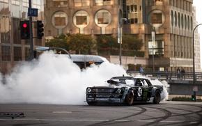 Picture Mustang, Ford, Front, 1965, RTR, Smoke, Block, Ken, Gymkhana, Drifting, Hoonicorn, SEVEN, 845 hp