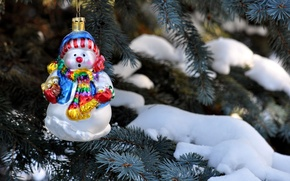 Picture winter, snow, needles, branches, nature, toy, tree, spruce, snowman, Christmas, holidays, New Year