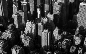 Picture windows, USA, United States, New York, Manhattan, NYC, New York City, black and white, buildings, …
