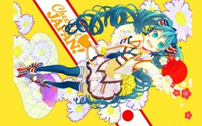 Picture joy, sneakers, chamomile, stockings, tie, Japan, vocaloid, Hatsune Miku, long hair, Vocaloid, yellow background, mini …