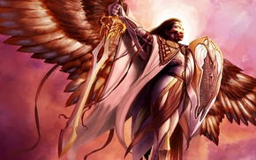 Picture light, Girl, angel, sword, shield