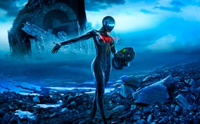 Picture fiction, head, helmet, art, Romantically Apocalyptic, apocalypse, Sci-Fi, zee captain
