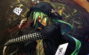 Picture card, Joker, skull, braid, green hair, Amnesia, Hanamura Mai, Ukyo