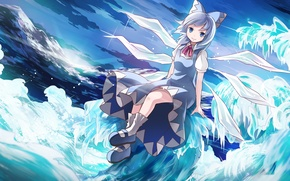 Picture the sky, girl, clouds, mountains, nature, wings, art, crystals, touhou, cirno, risuta an