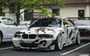 Picture tuning, white, camouflage, drives, bmw m3, stance