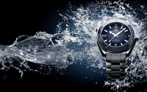 Picture water, watch, Omega, Seamaster