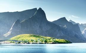 Picture Nature, Mountains, Bridge, Lake, Norway, Lofoten Islands