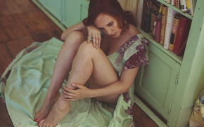 Wallpaper room, dress, girl, sadness, legs, face