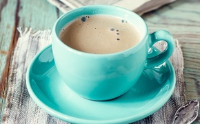 Picture foam, table, coffee, mug, drink, saucer, napkin