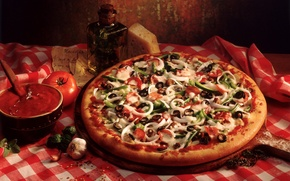 Picture Italian cuisine, olives, Pizza, Board, sausage, bell pepper, garlic, bell pepper, onion, olives, board, pizza, ...