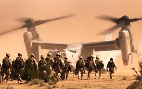 Picture desert, soldiers, the tiltrotor, Osprey, Marines, Bell V-22