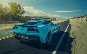 Picture Corvette, Chevrolet, Car, Blue, Stingray, Rear, Forgatio