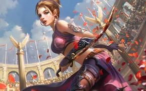 Picture blood, Girl, petals, arena, blade