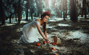 Picture girl, nature, apples