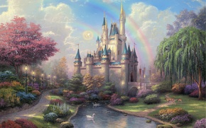 Wallpaper flowers, rainbow, Park, duck, New Day at the Cinderella Castle, Cinderella Castle, IVA, castle, river, ...