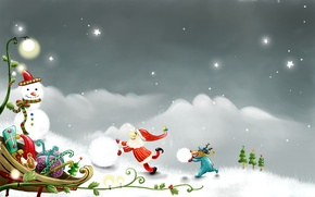 Wallpaper snowman, vector, figure, Holiday, new year, Christmas